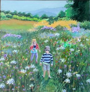 """Flower Meadow 13"""" x 13"""" £150"""