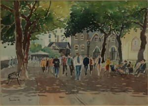 "Under the Shade Tower of London - 12""x16""
