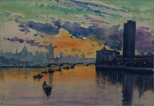 "Sunset Over London City - 11""x15""