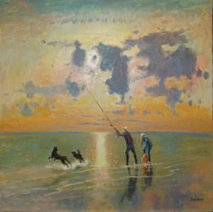 """Sea Fishing - 24""""x24"""" Sold"""