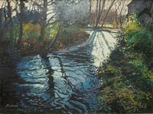 """Sunlit River Fordingbridge- 20""""x24"""" £350"""