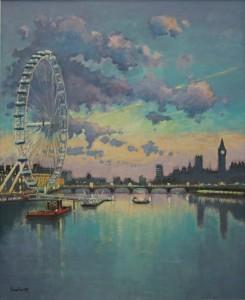 "Sunset at London Eye - 24""x16"" £300"