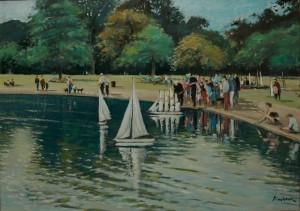"Model Sailing at Kensington Pond - 16""x20"" £195"