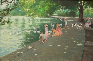 "Playing by Barnes Pond - 14""x20