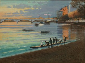 "Putney Wharf Reflections - 12""x14"" £150"