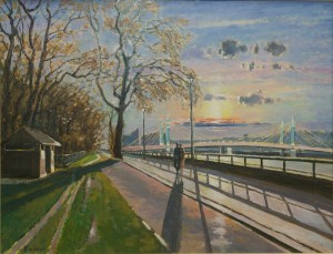"Sunset by Battersea Park - 20""x24""
