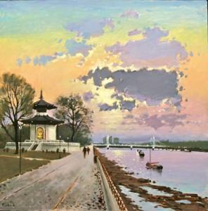 """Pagoda at Battersea Park - 24""""x24"""" £250"""