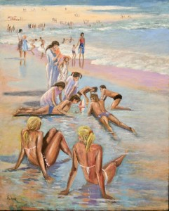 "Playing on the Beach - 32""x26""